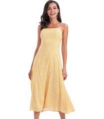 vestido largo flores amarillo nicopoly