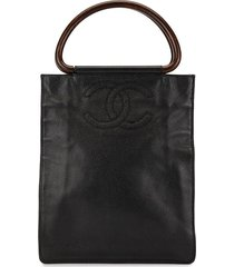 chanel pre-owned tortoiseshell handles shopper - black