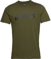 asics big logo tee t-shirts short-sleeved grön asics