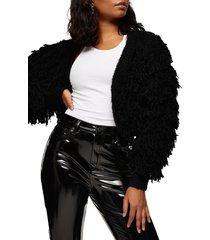 women's topshop fringe crop cardigan, size large - black