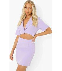 geweven blazer jurk met uitsnijding, lilac