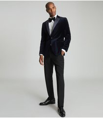 reiss ace - velvet blazer in navy, mens, size 46