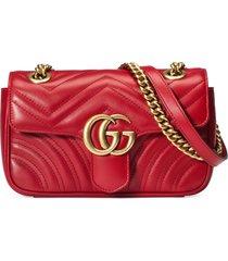 gucci mini gg 2.0 matelasse leather shoulder bag - red