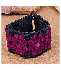 cotton wristband bracelet, 'nocturnal flowers' (mexico)
