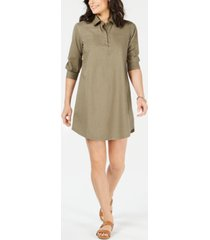 karen scott plus size cotton shirtdress, created for macy's