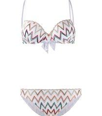 missoni mare bow detailed zigzag bikini set - white