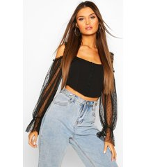 dobby mesh corset style cold shoulder top, black