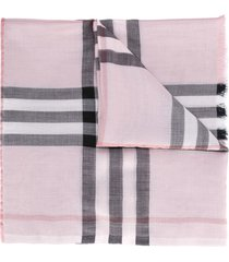 burberry metallic check silk and wool scarf - pink