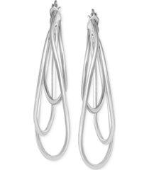 multi-hoop drop earrings in sterling silver