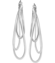 multi-hoop drop earrings in sterling silver