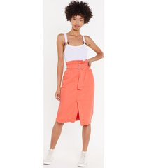 womens give me a call paperbag denim midi skirt - apricot