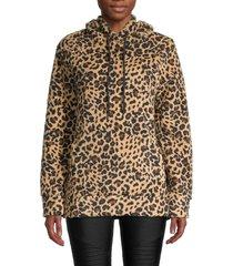 marc new york by andrew marc women's leopard-print sherpa hoodie - leopard - size m