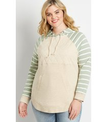 maurices plus size womens stripe sleeve quilted front pullover hoodie beige
