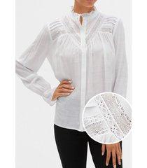 blusa con encaje blanco gap