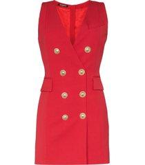 balmain double-breasted sleeveless blazer dress - red