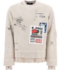 dsquared2 printed sweatshirt with patch