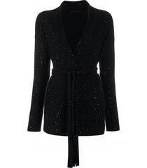 fabiana filippi sequin-embellishment tie-waist cardigan - black