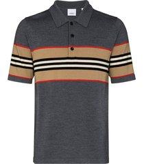 burberry oxford merino wool polo shirt - grey