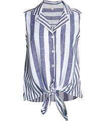 beach lunch lounge women's striped linen-blend sleeveless shirt - better - size l