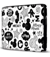 capa para notebook mickey 15.6 à 17 polegadas com bolso branco - feminino
