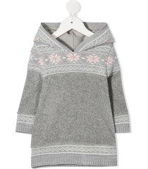 lapin house fairisle hooded jumper dress - grey