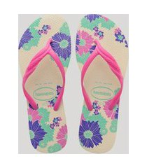 chinelo feminino havaianas com estampa floral kaki claro