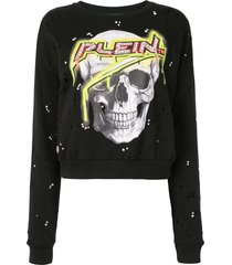 philipp plein skull print distressed effect sweatshirt - black