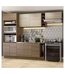 cozinha completa madesa stella 290002 com armário e balcão rustic/saara cor:rustic/rustic/saara