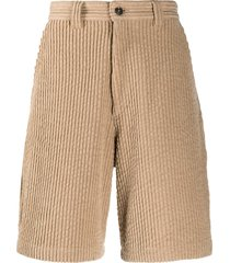 ami paris multi-pocket corduroy shorts - brown