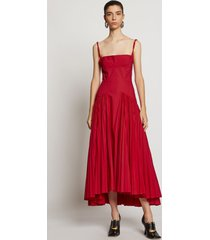 proenza schouler pleated poplin maxi dress tomato/red 8