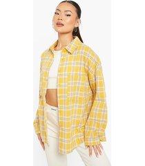 geruite oversized blouse, yellow