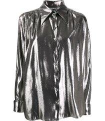 alberta ferretti metallic loose-fit shirt - silver