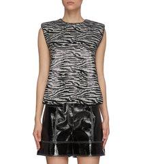 sequin zebra print sleeveless top