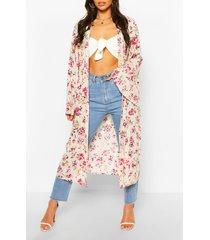 woven floral print wide sleeve kimono, cream