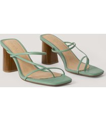 na-kd shoes fine strappy block heel sandals - green