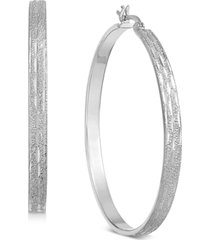 essentials large silver plated textured flat medium hoop earrings