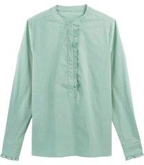 skjorta med volang, liten ståkrage och lång ärm