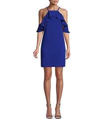 cold-shoulder mini shift dress