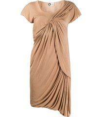 lanvin pre-owned 2000s gathered frayed dress - neutrals