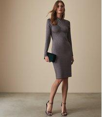 reiss alethia - metallic twist neck knitted dress in grey, womens, size xl