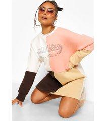 colour block calabases sweatshirt jurk, chocolate