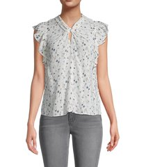 rebecca taylor women's adelaide floral flutter-sleeve silk-crepe top - snow combo - size 2