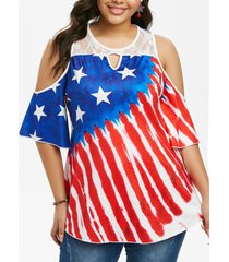 american flag open shoulder lace panel plus size top