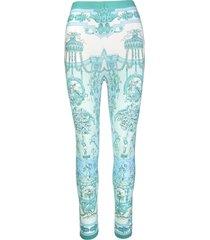 etro leggings with aquamarine foulard print