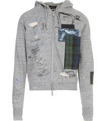 dsquared2 patch zip hooded sweatshirt