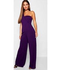 petite one shoulder cross over jumpsuit, purple