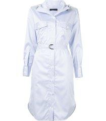 eudon choi hooded stripe shirt dress - blue