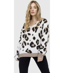 sweater cuello v animal print marena moka racaventura