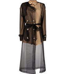 act n°1 sheer panel trench coat - brown