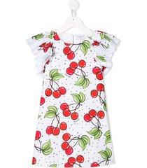 monnalisa cherry print shift dress - white